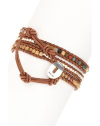 Chan Luu | Brown Mixed Semi-precious Gemstone & Nugget Beaded Leather Wrap Bracelet | Lyst