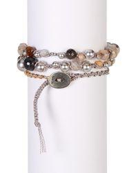 Chan Luu - Gray Sterling Silver Grey Mix Stone Beaded Wrap Bracelet - Lyst