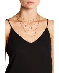Vince Camuto | Black Multi-row Chain Choker Necklace | Lyst