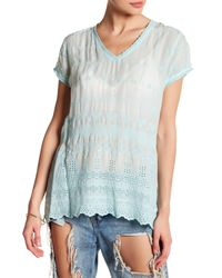 Johnny Was | Blue V-neck Embroidered Eyelet Blouse | Lyst