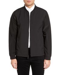 Calibrate | Black Mixed Media Bomber Jacket for Men | Lyst