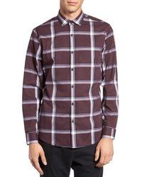 Calibrate | Purple Trim Fit Check Sport Shirt for Men | Lyst