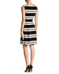 Calvin Klein Black Striped Belted Fit & Flare Dress