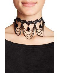 Cara - Black Beaded Lace Choker - Lyst
