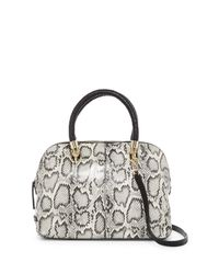 Cole Haan | Black Benson Snake-embossed Large Leather Dome Satchel | Lyst