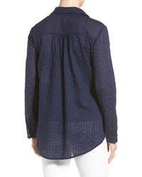 Caslon - Blue Long Sleeve Textured Cotton Pullover (petite) - Lyst