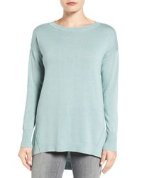 Caslon | Blue Zip Back High/low Tunic Sweater (petite) | Lyst
