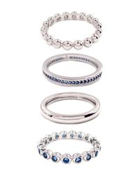 SAVVY CIE JEWELS Metallic Stackable Lab Created Sapphire Ring - Set Of 4