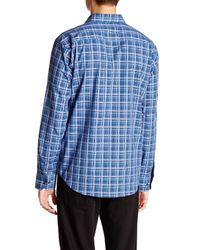 Bugatchi - Blue Plaid Long Sleeve Shaped Fit Shirt for Men - Lyst