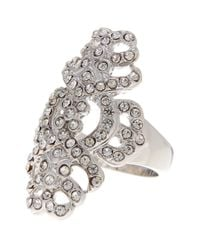 Ariella Collection - Metallic Pave Shield Crystal Ring - Lyst