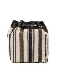 Kelsi Dagger Brooklyn | Black Dusen Striped Canvas Drawstring Backpack | Lyst