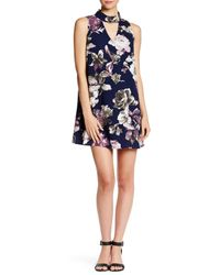 Peach Love California - Blue Flower Print Keyhole Sleeveless Swing Dress - Lyst
