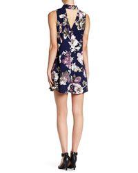 Peach Love California - Blue Flower Print Keyhole Sleeveless Swing Dress - Lyst