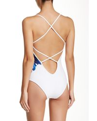 DSquared² - White Watercolor Strappy One Piece Swimsuit - Lyst