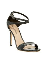Via Spiga | Black Tiara Snake Embossed Heel Sandal | Lyst