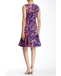 Donna Morgan - Purple Sleeveless Abstract Pique Flippy Skirt Dress - Lyst