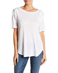 David Lerner - White Lace Up Sleeve Tee - Lyst
