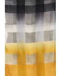 Frye - Yellow Degrade Plaid Print Frayed Trim Wool Blend Scarf - Lyst