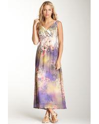Sienna Rose Purple Sleeveless Surplice Maxi Dress