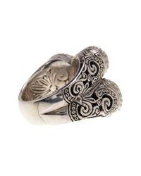 Konstantino - Metallic Sterling Silver & 18k Gold Framed 3 Stone Labradorite Ring - Size 7 - Lyst