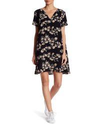 Lush   Black Short Sleeve Split Neck Floral Print Dress   Lyst