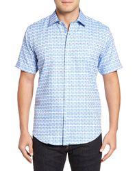 Bugatchi | Blue Shaped Fit Short Sleeve Sport Shirt for Men | Lyst