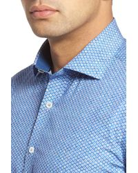 Bugatchi - Blue Shaped Fit Sport Shirt for Men - Lyst