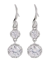 Diane von Furstenberg - White Cz Double Drop Earrings - Lyst