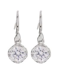 Diane von Furstenberg - White Round Cz Drop Earrings - Lyst
