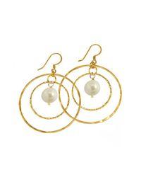 Charlene K White 14k Gold Plated Sterling Silver Double Hoop 12.7mm Freshwater Pearl Earrings