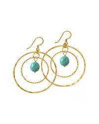 Charlene K Blue 14k Gold Plated Sterling Silver Double Hoop Turquoise Earrings