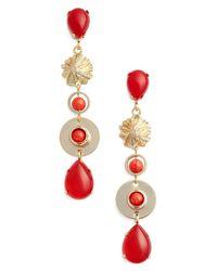 Zenzii - Red Linear Drop Earrings - Lyst