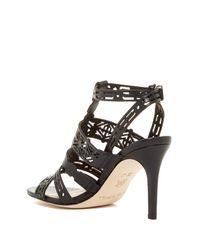 Via Spiga - Black Veronika Laser-cut Heel Sandal - Lyst