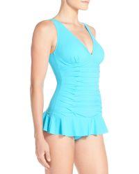 Gottex Blue V-neck Swim Dress