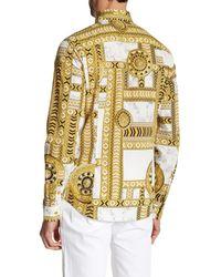 Versace   Metallic Long Sleeve Kaleidoscope Print Trim Fit Woven Shirt for Men   Lyst