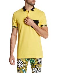Versace | Yellow Stripe Trim Polo for Men | Lyst