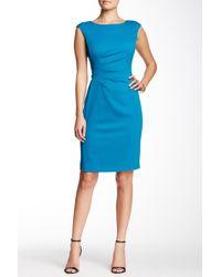 Ellen Tracy Blue Side Pleated Sheath Dress