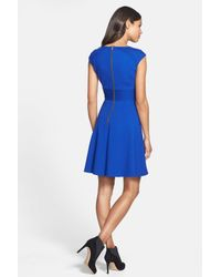 Eliza J - Blue Pintucked Waist Seamed Ponte Knit Fit & Flare Dress - Lyst