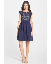 Eliza J | Blue Lace & Faille Dress | Lyst