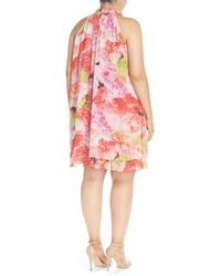 Eliza J Pink Floral Chiffon Double Layer Trapeze Dress (plus Size)