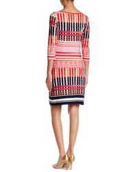 Eliza J - Red 3/4 Sleeve Printed Shift Dress - Lyst