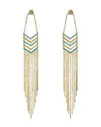 Noir Jewelry | Metallic Aquatic Chevron Chain Fringe Earrings | Lyst