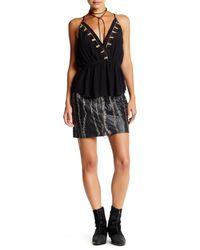 Free People | Black Obsessed Genuine Leather Mini Skirt | Lyst