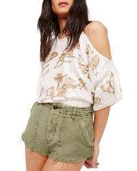 Free People White Sequin One Cold Shoulder Top