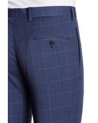 Tommy Hilfiger | Blue Two Button Notch Lapel Windowpane Print Suit for Men | Lyst