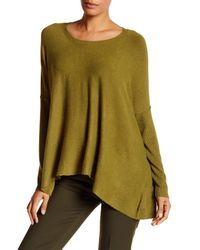 Eileen Fisher | Green Scoop Neck Draped Boxy Sweater | Lyst