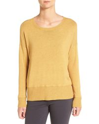 Eileen Fisher   Yellow Cozy Stretch Knit Ballet Neck Sweater   Lyst