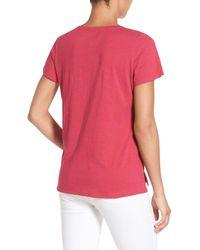 Eileen Fisher - Pink Slub Organic Cotton Jersey Tee - Lyst