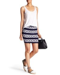Rebecca Minkoff Blue Poem Patterned Wool Blend Skirt