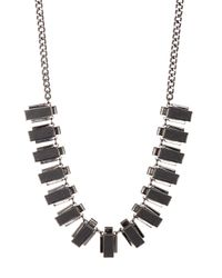 French Connection | Black Faux Leather Inlay Collar Necklace | Lyst